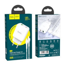 Hoco N5 Dual Port Charger PD 20W + QC 18W Charger Set pour Apple Lightning Blanc